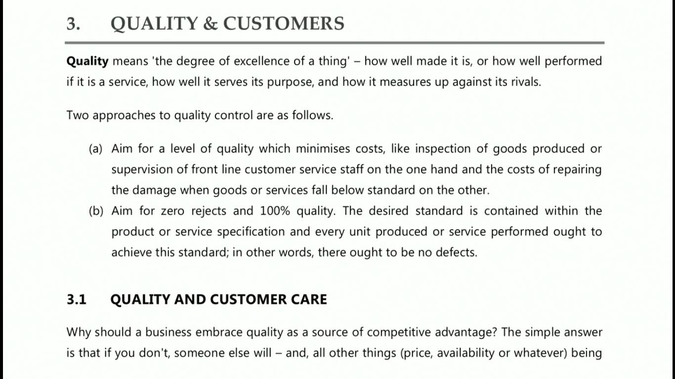 quality and customer